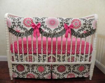 Girl Baby Bedding Set Rosetta - Bumper Free Crib Bedding, Scalloped Crib Rail Cover, Hot Pink Baby Bedding