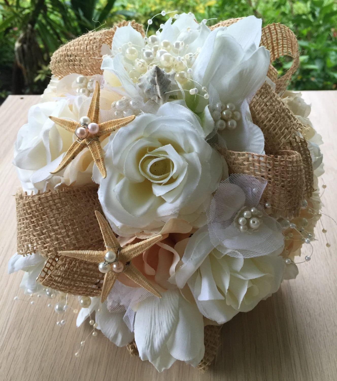 Beach Wedding Flowers: Beach Wedding Bouquet Burlap Bouquet Rustic Wedding Bouquet