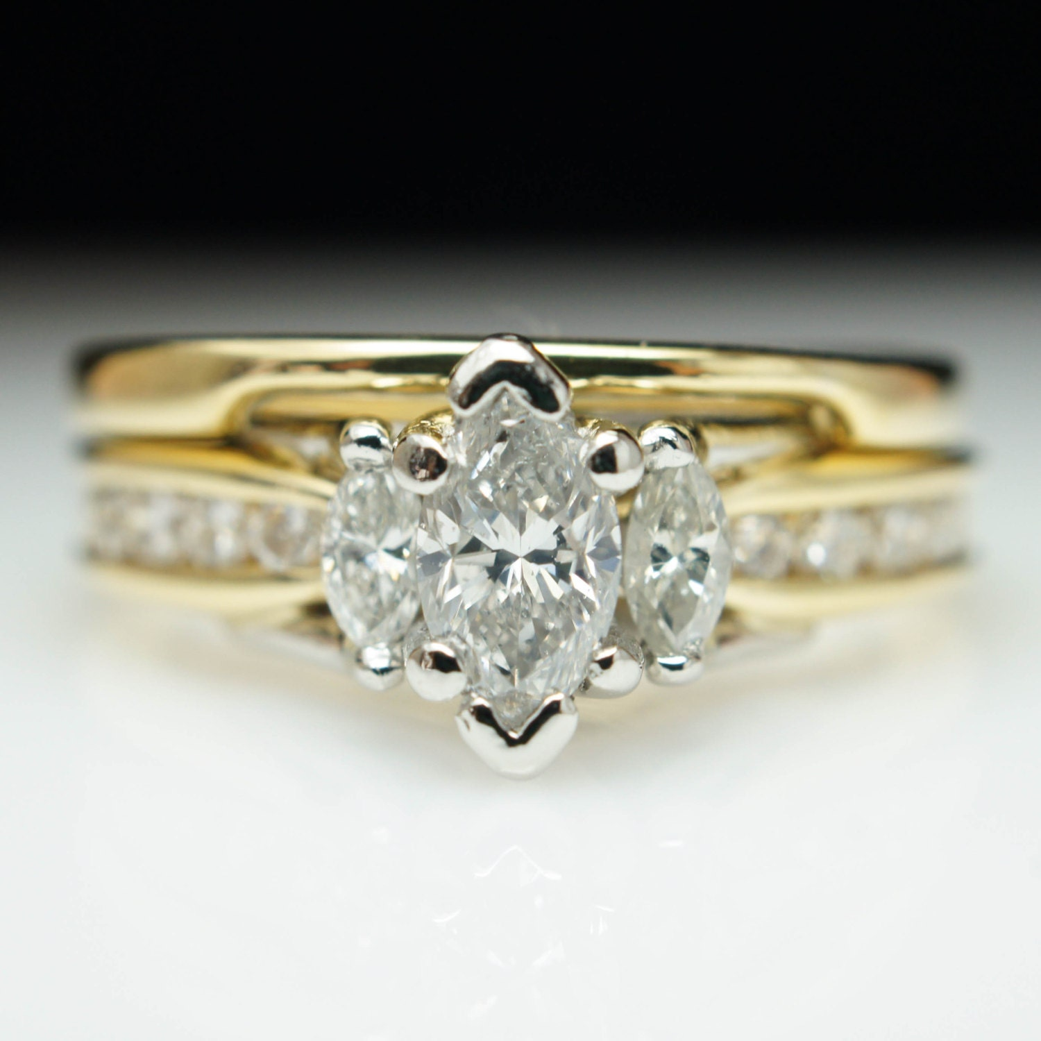Vintage Marquise Diamond Engagement Ring & by JamieKatesJewelry
