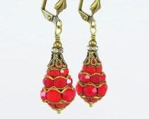 Red Art Deco Earrings Dangles RARE Vintage Swarovski Rhinestone Crystal Victorian