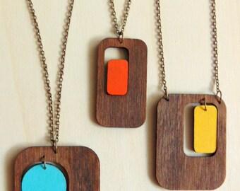 Retro Geometric  Necklace, Wood Necklace, Retro Jewelry