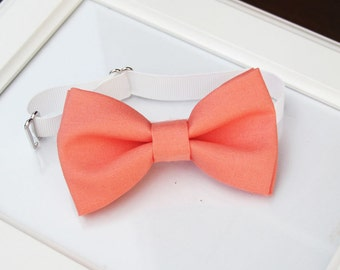 Salmon bow-tie for baby toddler teens adult - Adjustable neck-strap - deep coral bow tie - Wedding bow tie