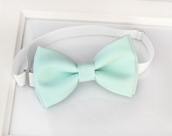Pale Mint Green bow-tie - baby bow tie - boy bow tie - adult bow tie - adjustable neck-strap - Light mint green bow tie