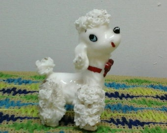 Poodle White Figurine in Excellent Condition Vintage Dog Statue. Retro Decor for Sure