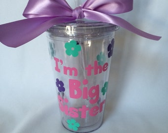 Personalized Big sister gift, Big Sister, Pregnancy reveal, Big Sister Tumbler, New Big Sister, Baby shower, Sibling gift, Big sister gift