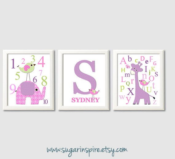 Purple Pink And Green Baby Girl Nursery Art Print Set