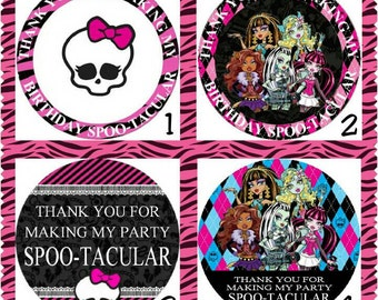 Personalized Monster High Favor Tags, Set of 10