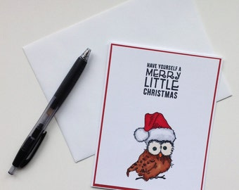 Handmade Christmas Card/Owl Christmas Card/Merry Christmas Card/Owl Card/Christmas Owl/Greeting Card