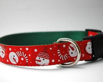 Christmas Dog Collar - Winter Snowman!