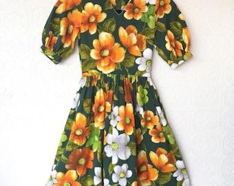1960s / barkcloth / hawaiian dress / green and orange / handmade