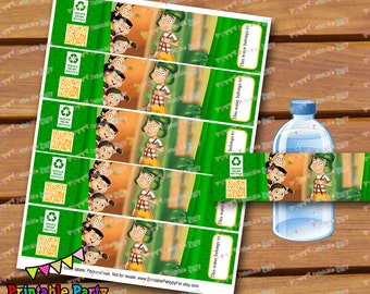 Instant download DIGITAL PRINTABLE el chavo del ocho 8 water bottle labels wraps wrappers etiquetas botella agua
