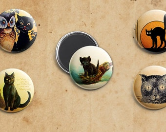 Five Black Cat Vintage Halloween Magnets