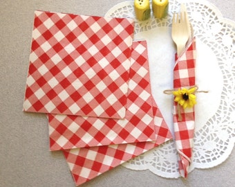 Picnic napkins gingham Red White Barbecues Cookouts Summer Dining Rustic Picnic 20 ct table decor rehearsal