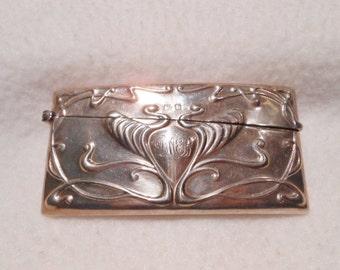Antique Art Nouveau Jugendstil Sterling Silver Archibald Knox Card Case, 1905