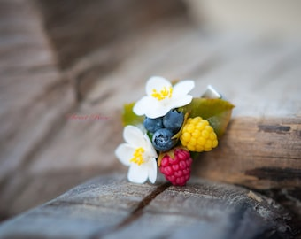 Forest wealth barrette, with berries: blackberry, blueberries, raspberry Flower clip Hairstyle Idea gift For girl August gifts