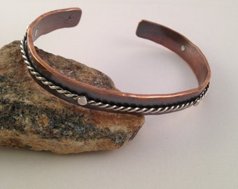 Copper Forged Cuff, Mixed Metal Cuff, Metalsmith Jewelry, Riveted Cuff, Cold Connection Cuff, Copper and Silver Cuff Bracelet