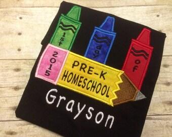 First Day of School Shirt/ Back to School Shirt/ Kingergarten Shirt/ Homeschool Shirt/ 1st grade shirt/ 2nd grade shirt/ Pre-K Shirt