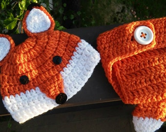 Crochet fox Hat and Diaper Cover, Fox Hat, Fox Outfit, Newborn Photo Prop, Gift