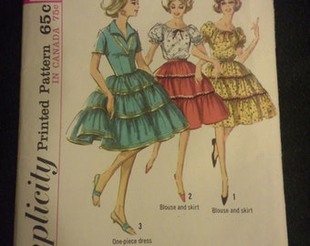 60s dress, skirt and blouse Simplicity vintage pattern Size 12