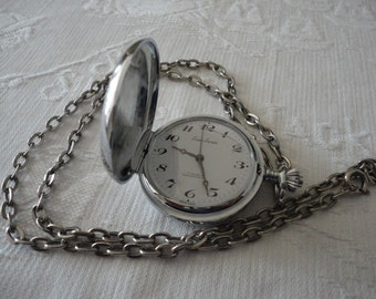 Ever Swiss Necklace Pocket Watch Silver Tone Vintage Ladies Working Condition Time Piece