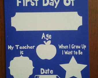 First Day of School Reusable Dry Erase Board, Back to School, School Supplies