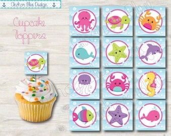 INSTANT DOWNLOAD: Under The Sea Cupcake Toppers