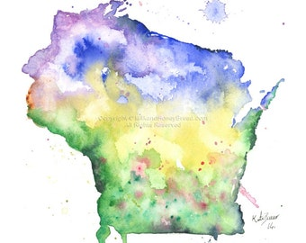 Wisconsin Map -Print of watercolor illustration