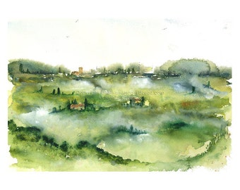 Tuscany Hills - Print of Watercolor Sketch - Print of watercolor