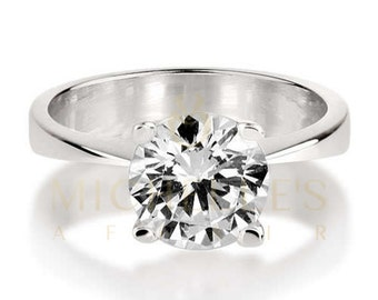 Engagement Ring Round Cut Diamond 0.75 Carat F SI1 Solitaire Ring 18K White Gold For Women