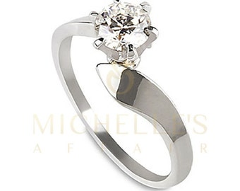 Engagement Ring Round Cut Diamond 0.45 Carat F SI1 Solitaire Ring 14K White Gold For Women