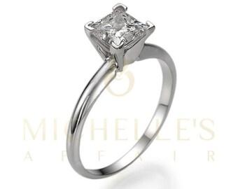 D SI1 Solitaire Diamond Proposal Ring 0.6 Carat Princess Cut White 14K Gold Setting For Women