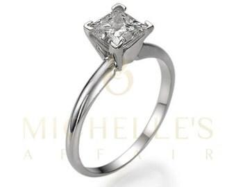 Diamond Ring Women Princess Cut Engagement Ring 1 1/4 Carat F SI1 Certified Diamond 18K White Gold Ring