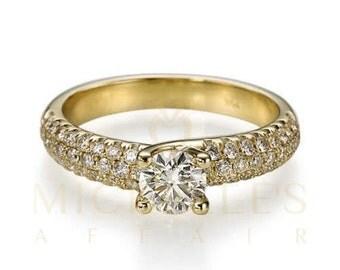 Women Diamond Engagement Ring 14 Karat Yellow Gold 1 1/4 Carat D VS2 Round Cut Certified Diamond Wedding Ring