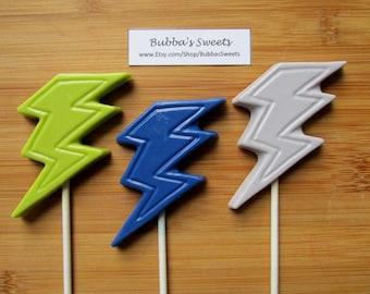 LIGHTNING BOLT Chocolate Pops (12) - SUPERHERO Birthday