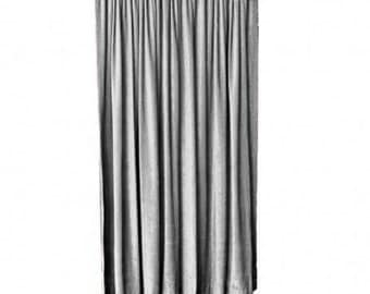 "Solid Gray Velvet Curtain Panel 96"" H Long Custom Flame Resistant FR Rated NFPA 701 Photo Booth Backdrop, Wall/Room Partition Drapes/Drapery"