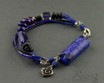 Cobalt Blue Fused Glass Bracelet