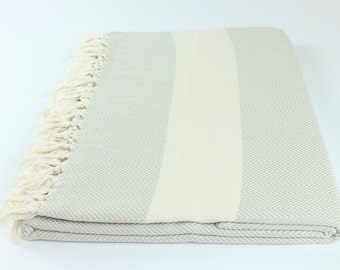 Oversized Beach Picnic Bed Outdoor Camping Throw Cotton Herringbone Turkish Towel Blanket Exclusive Quality Sand