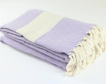 Large Turkish Blanket, Picnic Blanket,Towel Blanket, Lilac, Diamond, Beach Blanket Towel, Exclusive Quality
