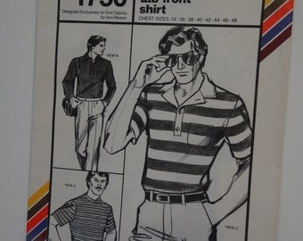 Vintage Mens Shirt Pattern from 1979 Stretch and Sew 1750, Mans Costume, Period Piece Clothing, 70s Shirt, Acting