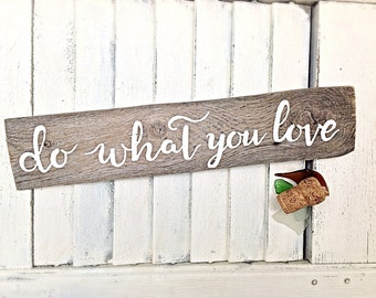 Inspirational Wall Art Reclaimed Wooden Sign-Motivational Do What You Love Wall Decor