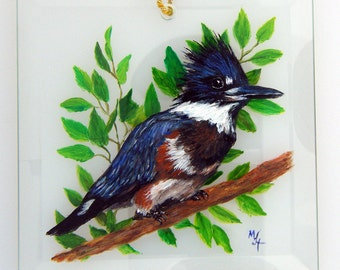 Hand Painted Glass Sun Catcher - Belted Kingfisher