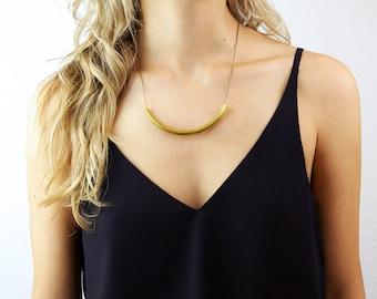 GODDESS Necklace // Brass Collar Necklace // Simple Brass Tube Necklace // Gold Collar Necklace / Bohemian Fringe