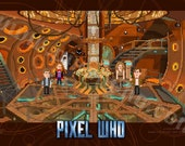 Pixel (8 bit) 11th Doctor Orange Console Room Print