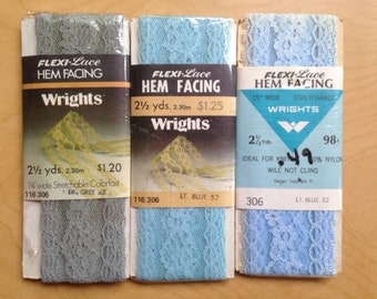 """Vintage Lace Hem Facing 1970s Sewing Trim Blue Green Gray Wrights 1 3/4"""" 7.5 Yards 3 packages"""