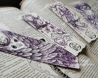Hand-drawn owl bookmarks