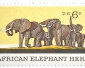 10 Unused Vintage Elephant Stamps // African Elephant // Vintage 1970 Elephant Postage
