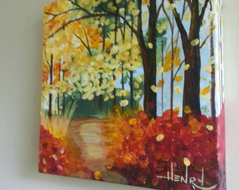 Vibrant fall painting wall decor by Pamela Henry autumn colors reds yellows oranges heavily textured