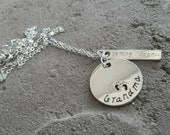 Surprise Pregnancy Announcement Dual Charm Stamped Necklace, Grandma, coming soon....