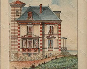Original  Antique Architectural Print - Architecture Petites Maison