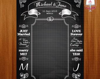 Chalkboard Wedding Backdrop Banner - Printable Backdrop Banner